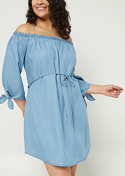 Plus Chambray Off Shoulder Dress