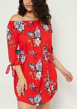 Plus Red Floral Print Chiffon Off Shoulder Dress