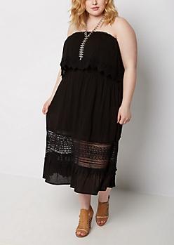 Plus Black Flounced Strapless Crochet Dress