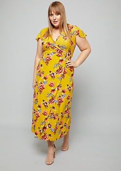 Plus Yellow Floral Print Flutter Sleeve Wrap Maxi Dress