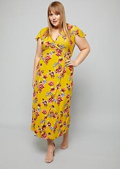 Plus Yellow Floral Print Flutter Sleeve Wrap Maxi Dress