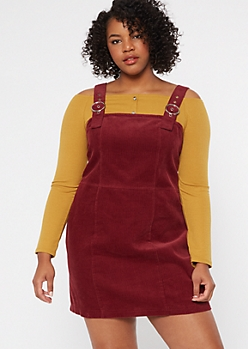 Plus Burgundy Corduroy Buckle Strap Overall Dress