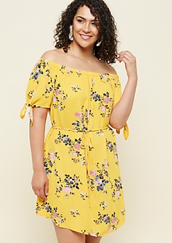 Plus Yellow Floral Print Off The Shoulder Belted Dress