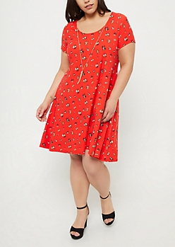 Plus Red Floral Print Swing Necklace Dress