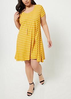 Plus Mustard Striped Swing Necklace Dress