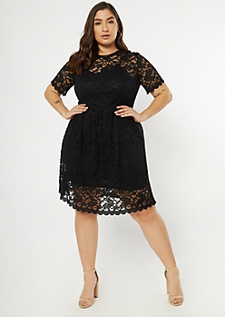 Plus Black Scalloped Lace Skater Dress