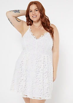 Plus White Crochet Lace V Neck Skater Dress