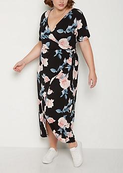 Plus Rose Surplice Wrap Maxi Dress