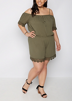 Plus Olive Scalloped Crochet Cold Shoulder Romper