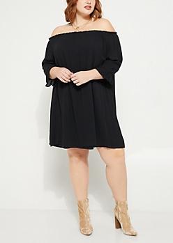 Plus Black Off The Shoulder Woven Dress