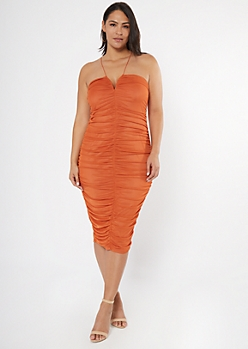 Plus Burnt Orange Ruched Midi Dress