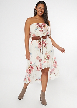 Plus Ivory Floral Print Belted Ruffle High Low Dress
