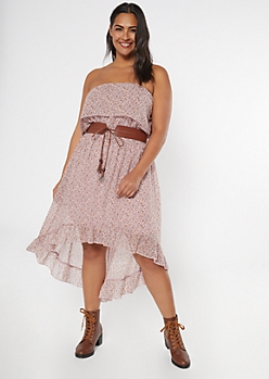 Plus Dusty Purple Floral Print Ruffle High Low Dress