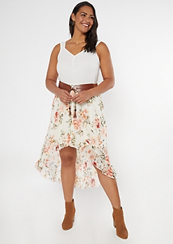 Plus Ivory Floral Print Belted High Low Dress