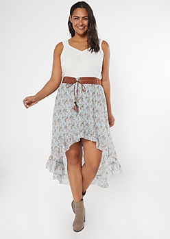 Plus Blue Floral Print Belted High Low Dress