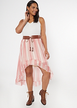 Plus Medium Pink Striped Belted High Low Dress