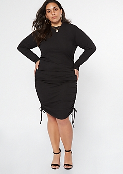 Plus Black Corset Ruched Ribbed Knit Dress
