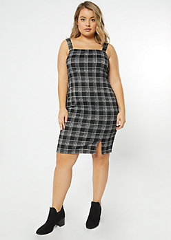 Plus Black Plaid Print Sleeveless Overall Dress