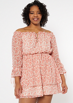 Plus Red Floral Print Off The Shoulder Ruffle Dress