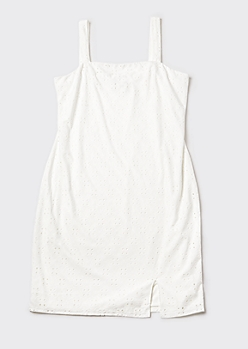 Plus White Eyelet Square Neck Slip Dress