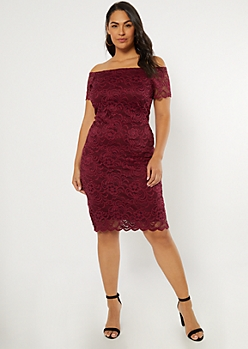 Plus Burgundy Lace Off The Shoulder Midi Dress