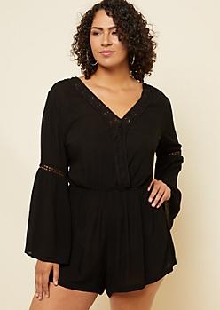 Plus Black Crochet Trim Bell Sleeve Romper