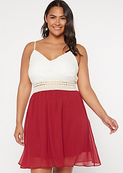 Plus Burgundy Lacy Crochet Dress