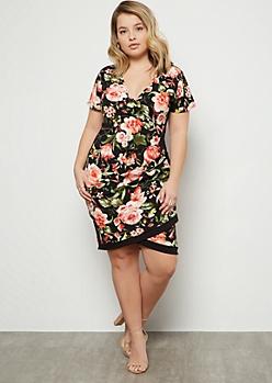 Plus Black Floral Print Surplice Side Striped Mini Dress