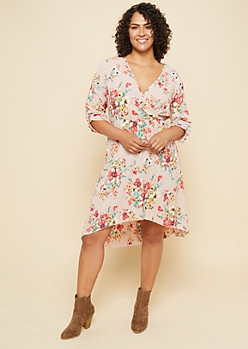 Plus Pink Floral Print Tab Sleeve High Low Dress