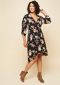 Plus Black Floral Print Tab Sleeve High Low Dress