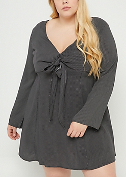 Plus Black Dot Knotted Skater Dress