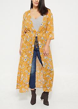Plus Mustard Sheer Tie Front Floral Maxi Kimono