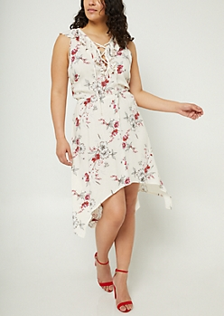 Plus Ivory Floral Print Ruffled Collar Dress
