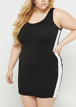 Plus Black Varsity Striped Bodycon Mini Dress