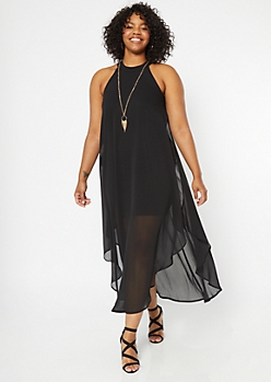Plus Black High Neck Side Slit Chiffon Necklace Dress