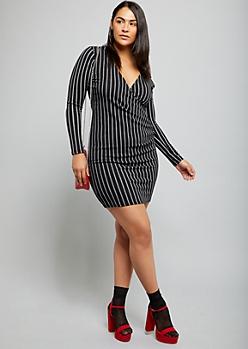 Plus Black Striped Surplice Neckline Ruched Bodycon Dress