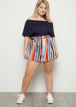 Plus Bright Striped Flounced Off The Shoulder Romper