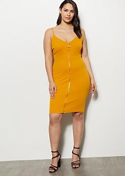 Plus Mustard Crepe O Ring Zip Up Dress