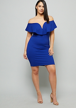 Plus Blue Off The Shoulder V Neck Mini Dress