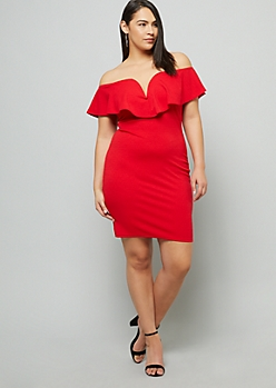 Plus Red Off The Shoulder V Neck Mini Dress
