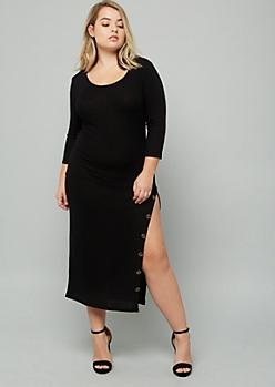 Plus Black Ribbed Knit Button Side Slit Dress