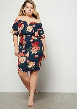Plus Navy Floral Print Off The Shoulder V Neck Mini Dress