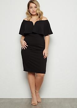 Plus Black Off The Shoulder V Neck Midi Dress