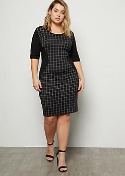 Plus Black Grid Print Colorblock Midi Dress