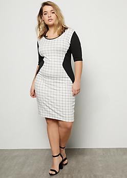 Plus White Grid Print Colorblock Midi Dress