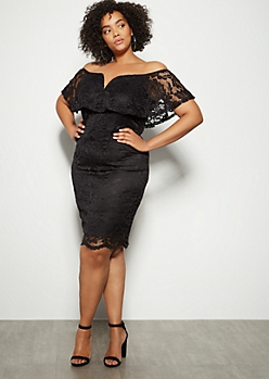 Plus Black Floral Lace Off The Shoulder Bodycon Dress