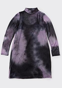 Plus Lavender Tie Dye Mock Neck Mesh Dress