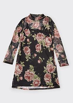 Plus Black Floral Print Mock Neck Mesh Dress