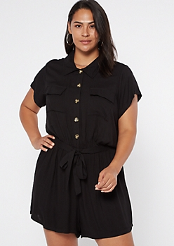 Plus Black Button Down Cargo Romper