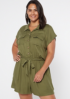 Plus Olive Button Down Cargo Romper